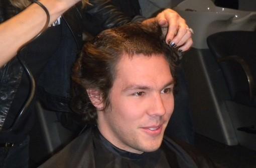 Sam Bradford getting his hair cut