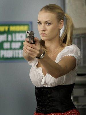 Yvonne Strahovski with gun