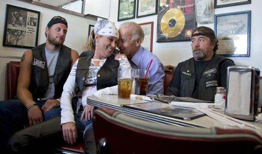 Joe Biden with bikers