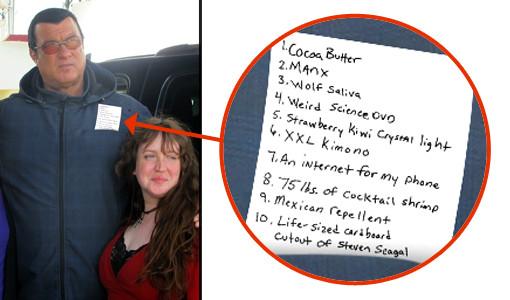 Steven Seagal shopping list