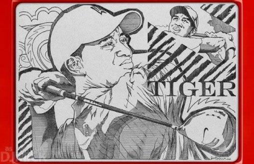 Etch a Sketch Tiger Woods