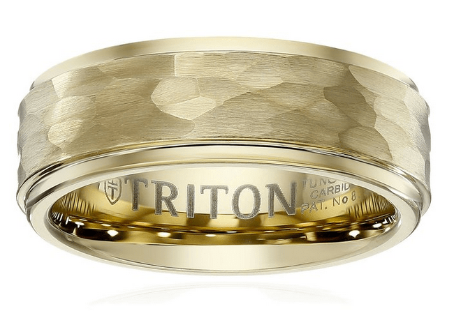 best wedding bands for men  Triton Hammered