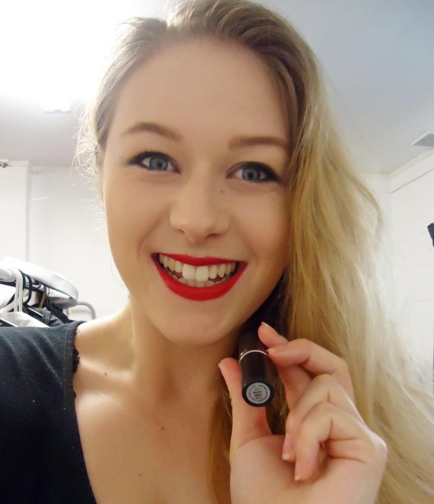 ruby red lipstick