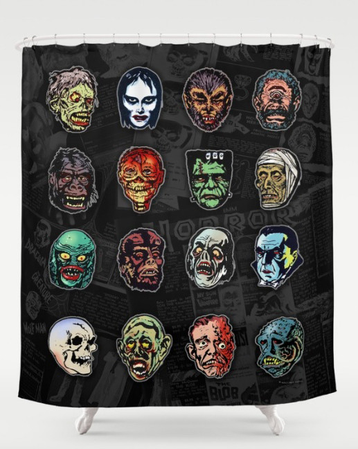 horror-movie-monster-masks-color-shower-curtains