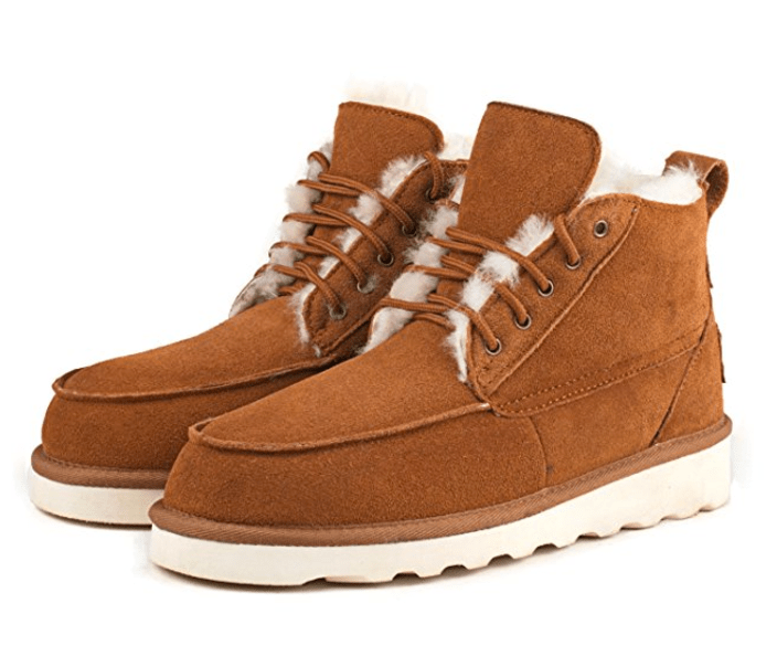 AUSLAND Men's Lace-up High Top Leather Winter Boo best boots for men